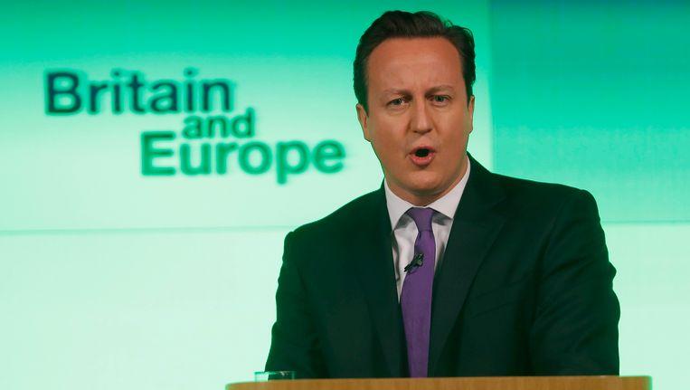 Cameron vandaag tijdens zijn speech. Beeld reuters