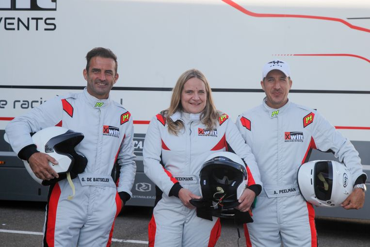 Gunther Levi, Ruth Beeckmans en Andy Peelman in race-outfit