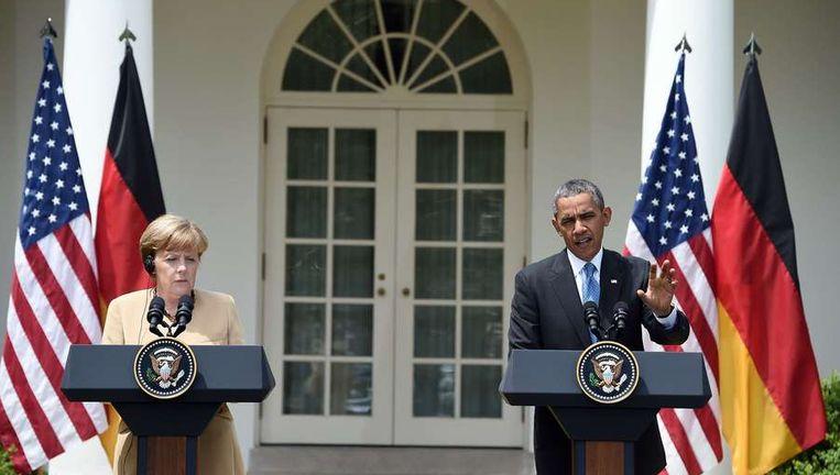 De Duitse Bondskanslier Angela Merkel en Amerikaanse president Barack Obama beantwoordden gisteren vragen van de pers.