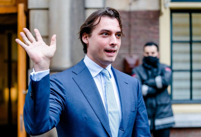 Thierry Baudet (FvD) na afloop van de bijeenkomst met fractievoorzitters in december waar zij werden bijgepraat door premier Mark Rutte over de coronamaatregelen.