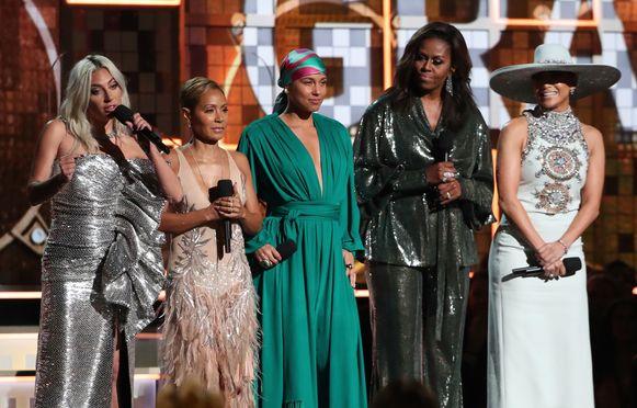 Lady Gaga, Jada Pinkett Smith, Alicia Keys, Michelle Obama en Jennifer Lopez op de 61ste editie van de Grammy's in Los Angeles.