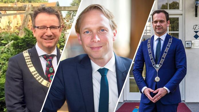 Burgemeester Patrick van Domburg (IJsselstein), Gerdo van Grootheest (Culemborg) en Sjoerd Potters (De Bilt)