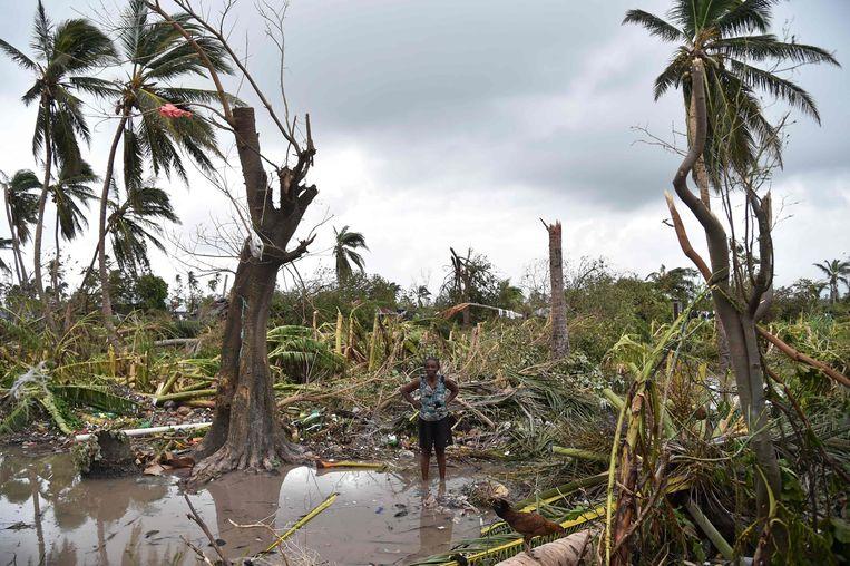 Door de kracht van de orkaan Matthew is veel kapot gegaan op het toch al straatarme Haïti. Beeld AFP