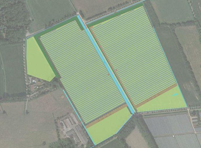 Een kaart van het te realiseren zonnepark bij Olland: twee velden met in totaal 38.300 panelen en 5 hectare aan nieuwe natuur (lichtgroen).
