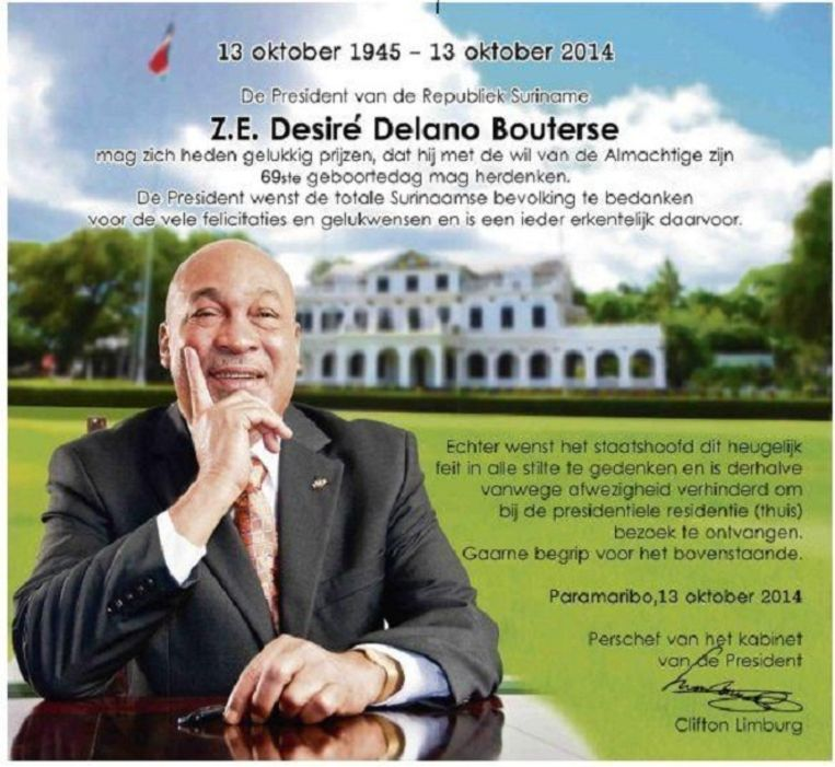 Advertentie waarin Bouterse de Surinamers bedankt die hem feliciteerden met zijn verjaardag. Beeld Kabinet van de President