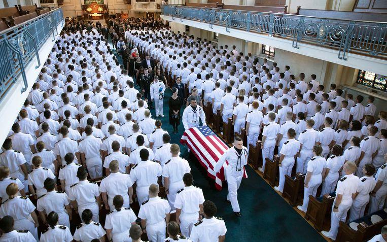 De plechtigheid in de marinebasis in Annapolis.