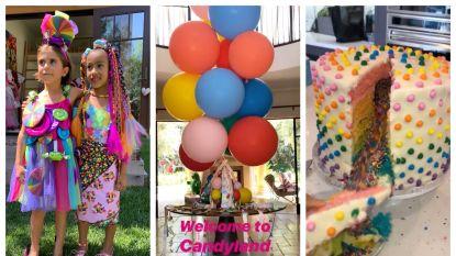 IN BEELD. Kardashians houden extravagant feestje in snoep-thema voor North en Penelope
