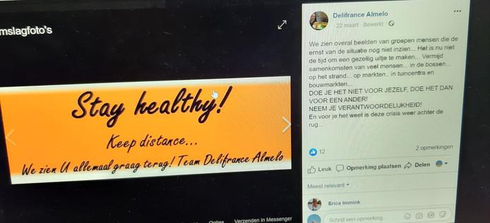 Blijf gezond. Delifrance-eigenaar John Damink heeft die wens op zijn facebookpagina gezet. De boel is voorlopig dicht.