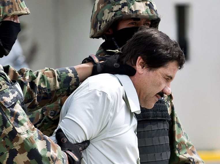 Drugbaron Joaquin 'El Chapo' Guzman bij zijn arrestatie in 2014.