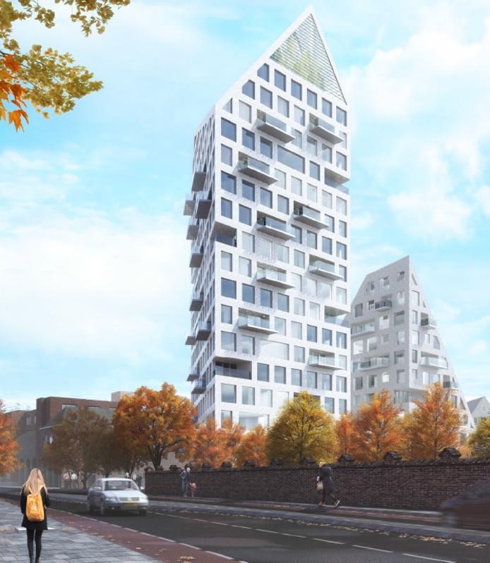 Het plan van SDK Vastgoed e.a. voor de omgeving Deken Van Somerenstraat, gezien vanaf de Edenstraat. De toren van 62 meter is de blikvanger. Illustratie SDK Vastgoed