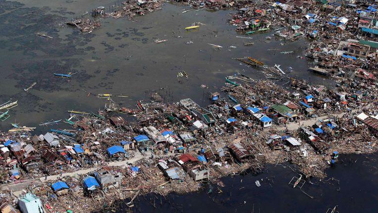 Luchtfoto van het getroffen gebied. Beeld epa
