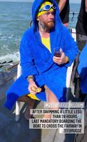 Matthieu Bonne moest even aan boord van de begeleidingsboot ter hoogte van de haven van Zeebrugge.