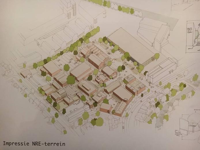Een impressie van het herinrichtingsplan voor het NRE-terrein zoals de gemeente dat met toekomstige gebruikers heeft opgesteld.