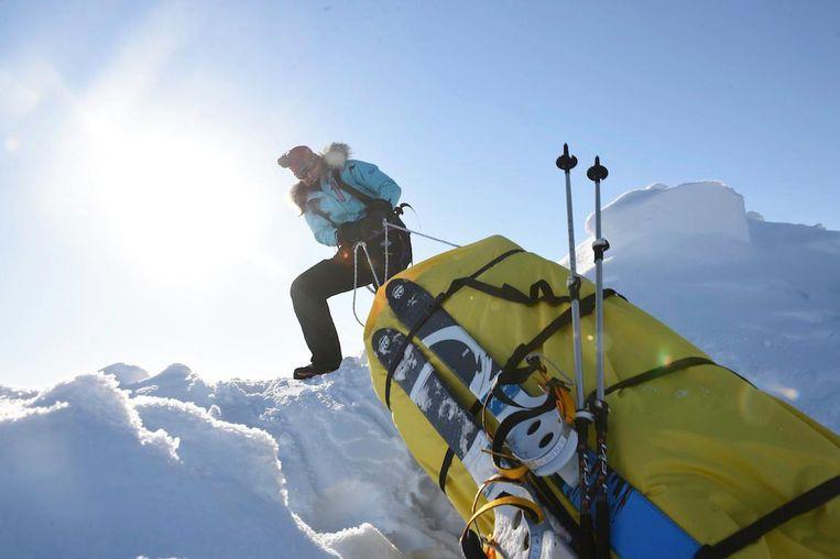 Tijdens de ski-expeditie van de Noordpool naar Canada in 2014. Op deze reis verloor ze 15 kilo aan lichaamsgewicht. Beeld
