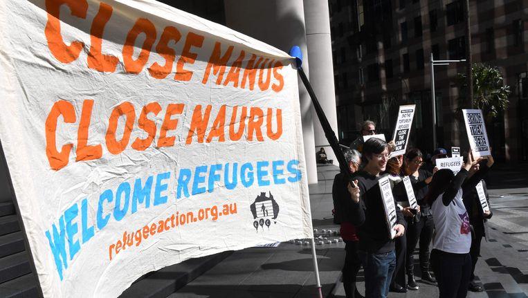 Demonstranten eisen de sluiting van de Australische detentiecentra Manus en Nauru in Sydney.