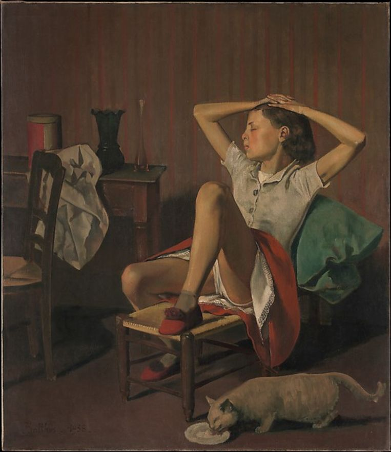 Het werk 'Thérèse Dreaming' van de Frans-Poolse schilder Balthus.
