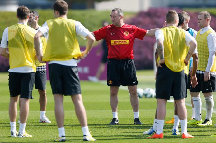 René Meulensteen leidt de training van United..
