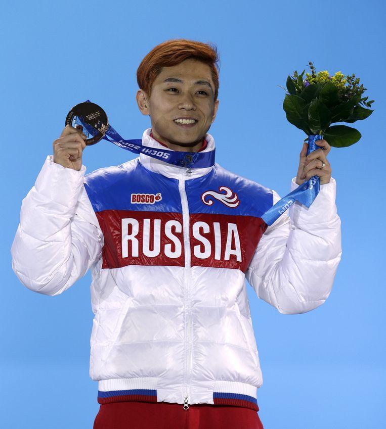 Ahn met zijn medaille, gisteren. Beeld ap