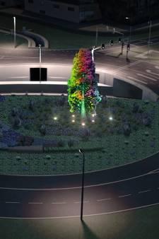 Grauwe Baljuwpleinrotonde wordt kleurrijker met verlichte mammoetboom