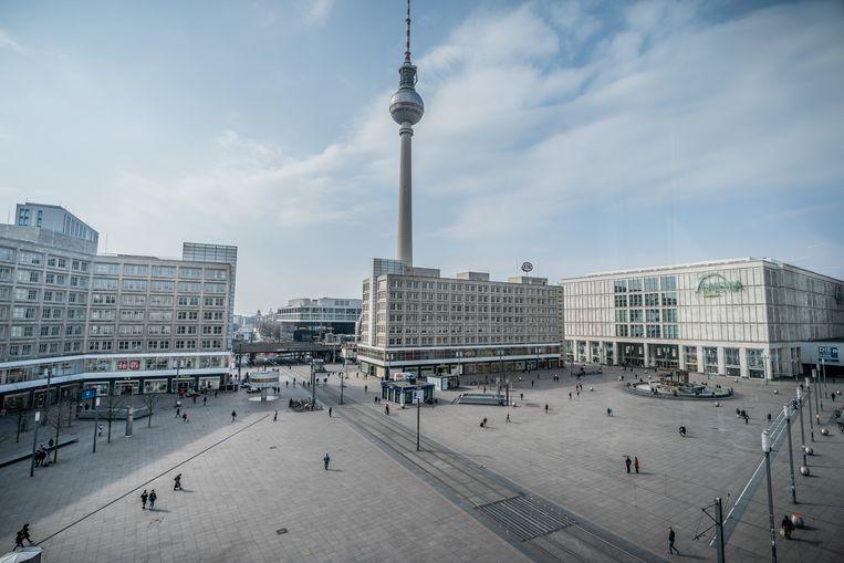 De Alexanderplatz in Berlijn, normaal een van de drukste winkelstraten van de Duitse hoofdstad.