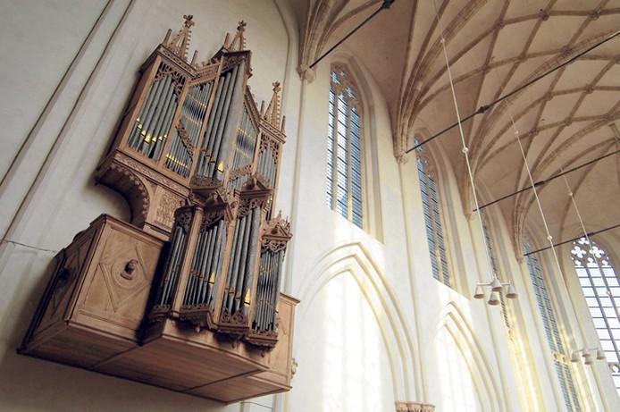 De betwiste orgelkas in de Koorkerk te Middelburg. foto Lex de Meester