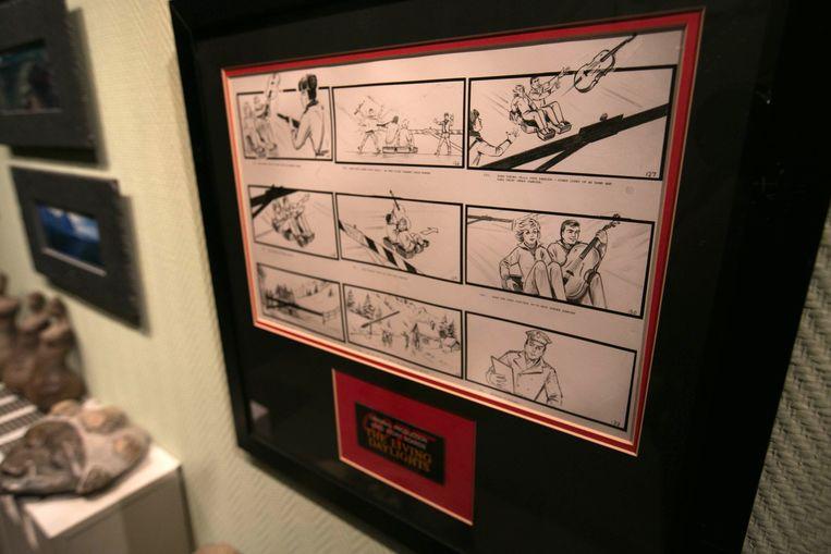 Hendrikx heeft ook tekeningen hangen, die bij de scripts werden gemaakt.