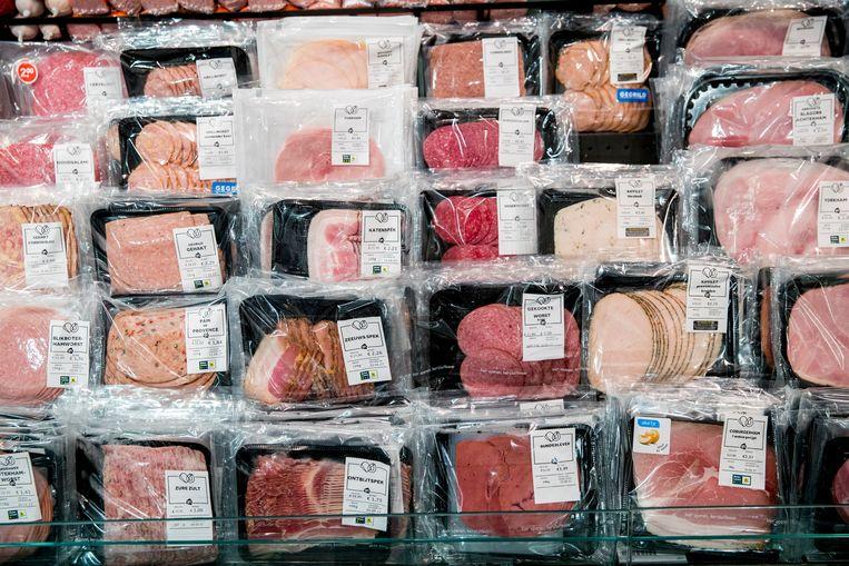 Vleeswaren in de koeling van supermarktketen Albert Heijn. Beeld ANP