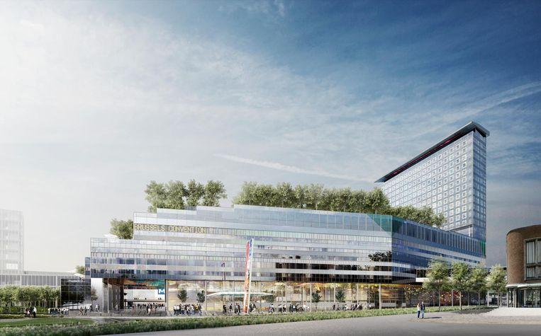 De plannen voor het imposante congrescentrum (links) en het hotel (rechts) zijn gisteren voorgesteld.