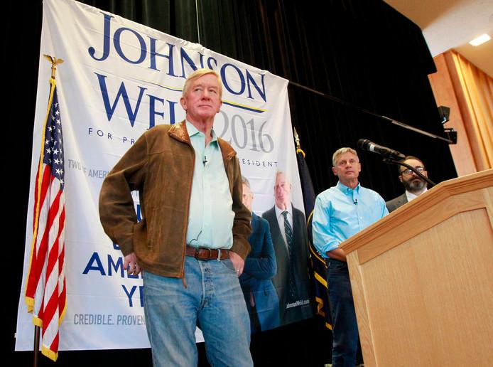Bill Weld als running mate van Gary Johnson voor de verkiezingen van 2016.