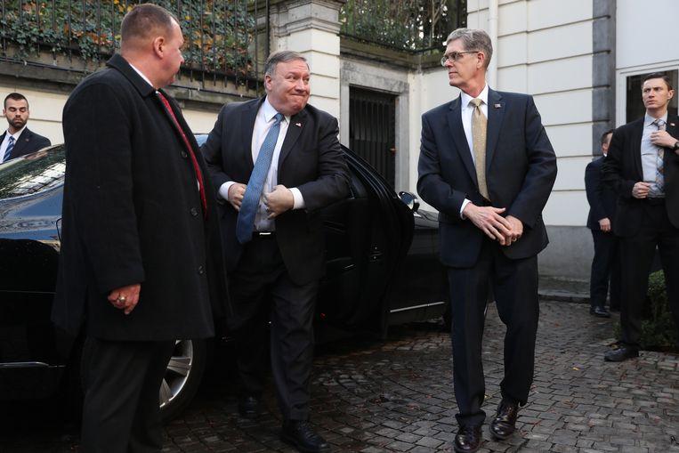 Amerikaans buitenlandminister Mike Pompeo bij zijn aankomst aan de Lambermont.