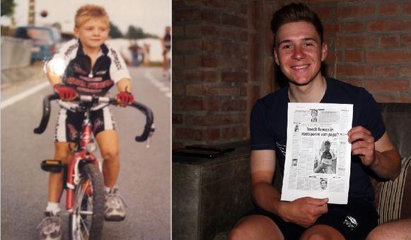 LINKS: Als kleuter fietste Evenepoel al rond in een wielershirt van het bedrijf van zijn vader. RECHTS: Het Laatste Nieuws 7 september 2005: 15 jaar geleden stond de naam van Remco al te blinken in de titel bij een artikel met papa Patrick.