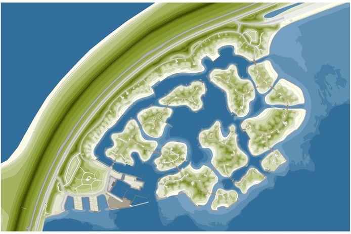 Een impressie van het plan Brouwerseiland, met 13 eilandjes in de Grevelingen.