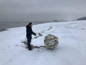 Sneeuwballen rollen op het strand van Blankenberge