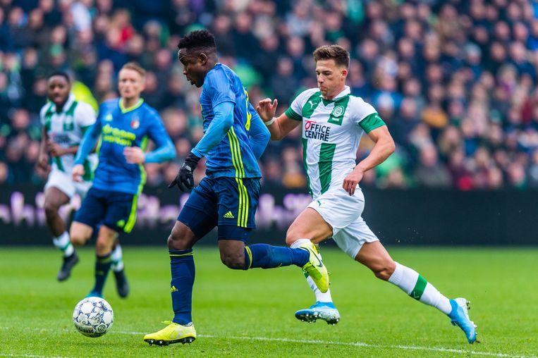 Luis Sinisterra staat op het punt de 0-1 te scoren tegen Groningen. Beeld BSR Agency