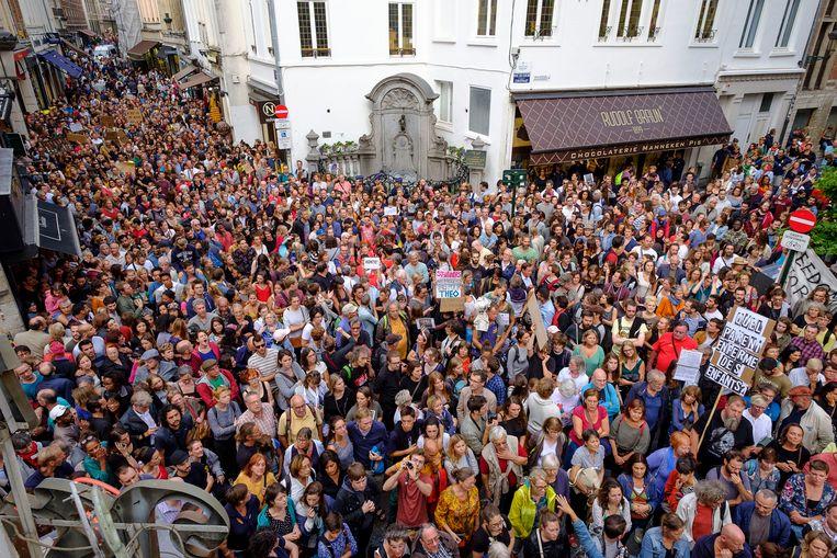 15 augustus 2018 - In Brussel werd geprotesteerd tegen de opsluiting van het gezin.