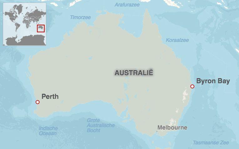 Perth ligt in het westen van Australië, op ruim 4000 kilometer van Byron Bay, waar Theo Hayez verdween.