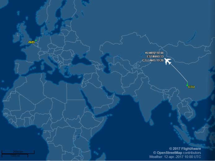 De route die het vliegtuig moet afleggen.