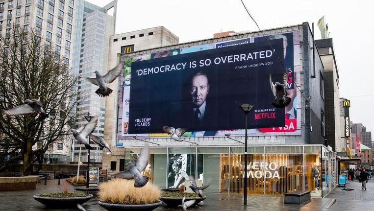 Een reclameposter van het Netflix programma House of Cards met Kevin Spacey in de hoofdrol. Beeld anp