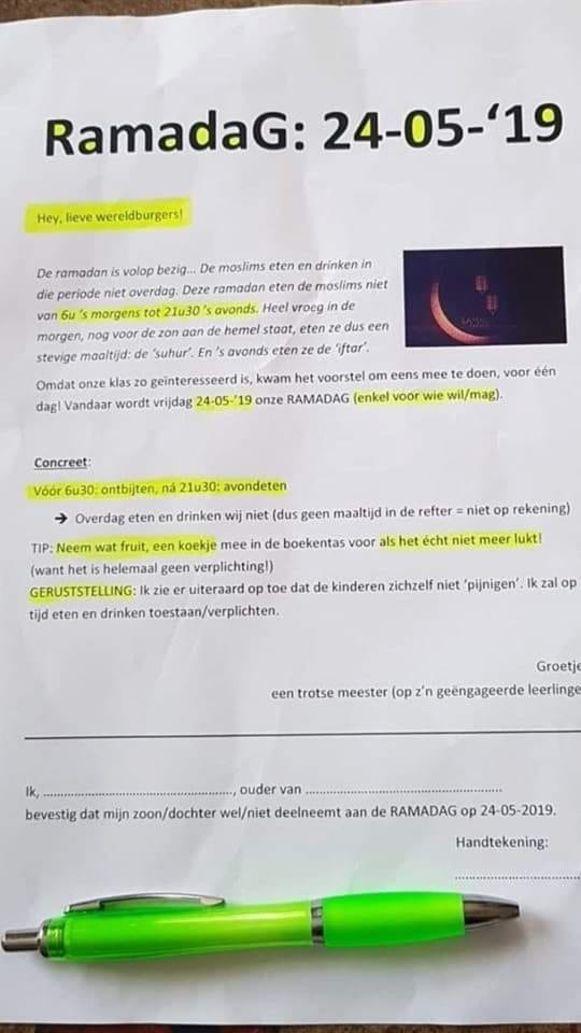 De brief van het schooltje in Outrijve.