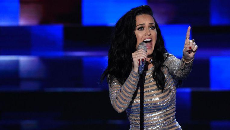 Zangeres Katy Perry op de Nationale Democratische Conventie in Philadelphia. Beeld afp