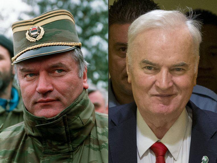 Ratko Mladic in 1994 en nu.  Beeld AFP