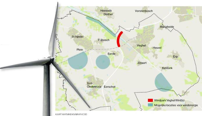 De vier zoeklocaties voor windparken in Meierijstad.