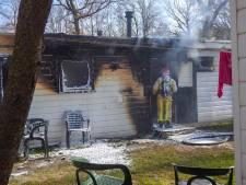 Vlammen verwoesten stacaravan op camping De Brugse Heide in Valkenswaard