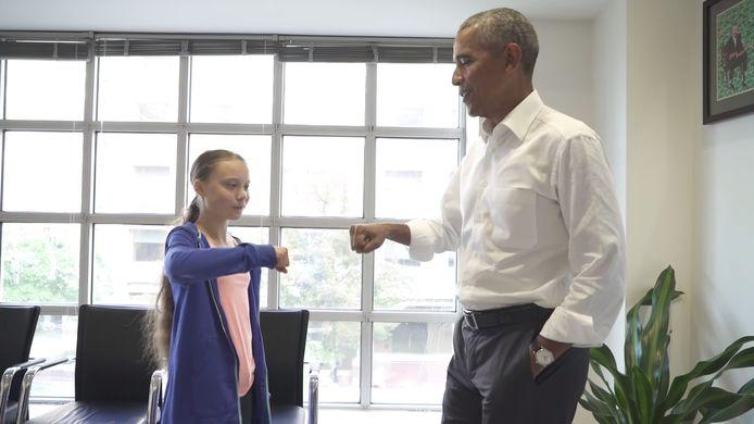 Thunberg had vrijdag een ontmoeting met de Amerikaanse oud-president Barack Obama tijdens haar verblijf in de VS.