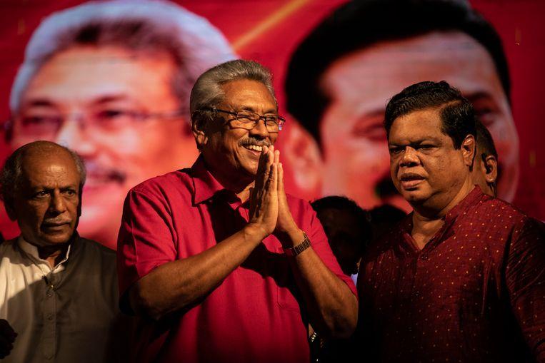 De Sri Lankese presidentskandidaat Gotabaya Rajapaksa tijdens een bijeenkomst afgelopen week.  Beeld Getty Images
