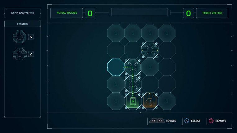 Eén van de minigames waarin je een elektrische circuit moet vervolledigen.