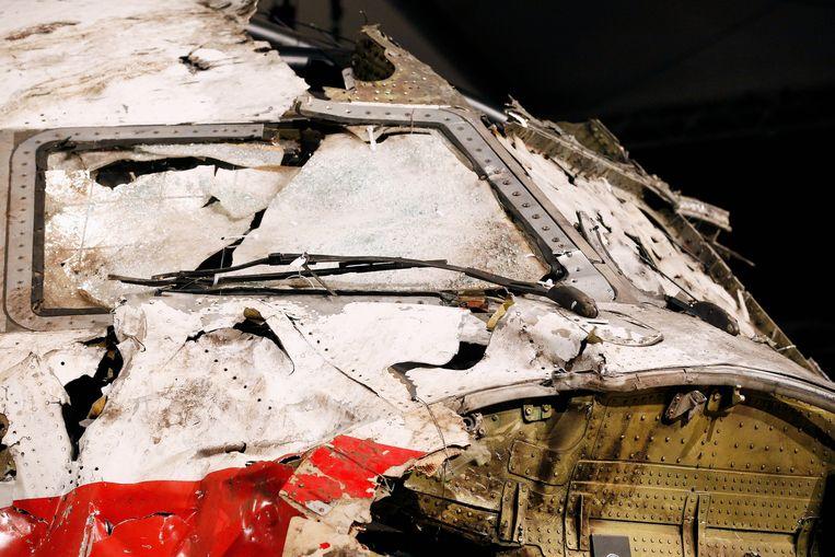 Een deel van de gereconstrueerde cockpit van vlucht MH17. Beeld null