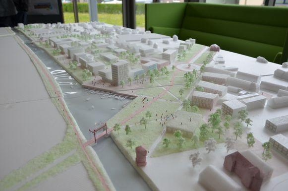 Een maquette van de toekomstige suikerfabrieksite.