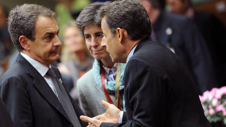 De Spaanse premier Zapatero en de Franse president Sarkozy Beeld ap