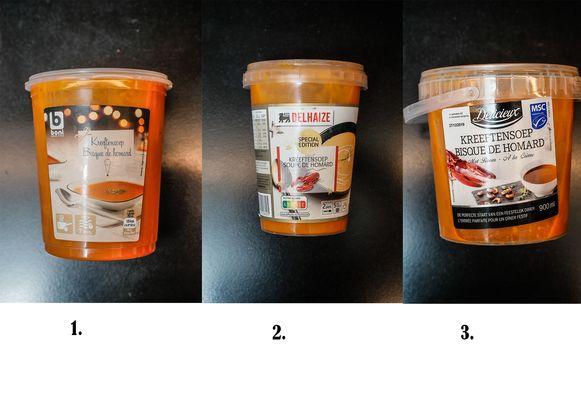 Kreeftensoep 1. Colruyt, 2. Delhaize en 3. Lidl